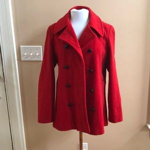 Vintage LL Bean red pea coat. Size 12